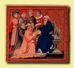 Marco Polo at the Kublai Khan. Miniature from the Travels of Marco Polo c 1298.