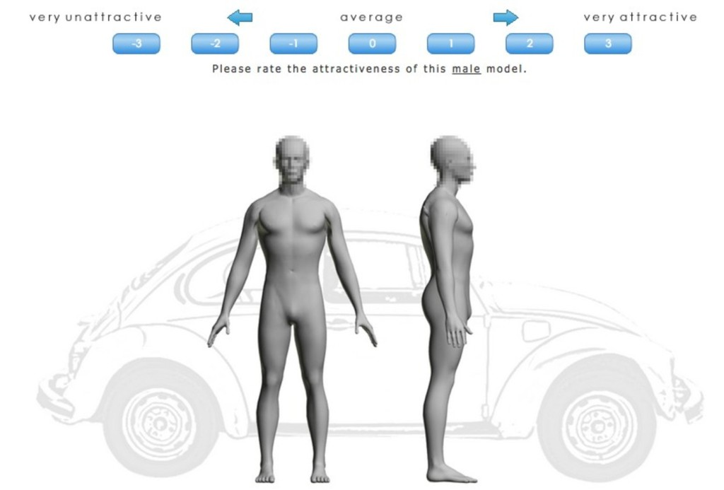 Example image from the BodyLab 'digital ecosystem'. The VW Beetle is provided as the universal symbol of something-slightly-shorter-than-an-adult-human. Faces pixellated to preserve any grey people's anonymity. Rob Brooks/BodyLab.biz
